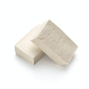 Blocks of tofu isolated on white background