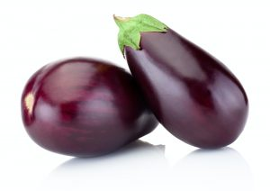 Two eggplant isolated on a white background